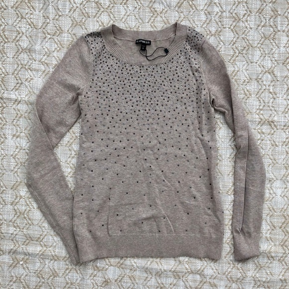 Express Sweaters - Express beige crystal bling studded sweater XS